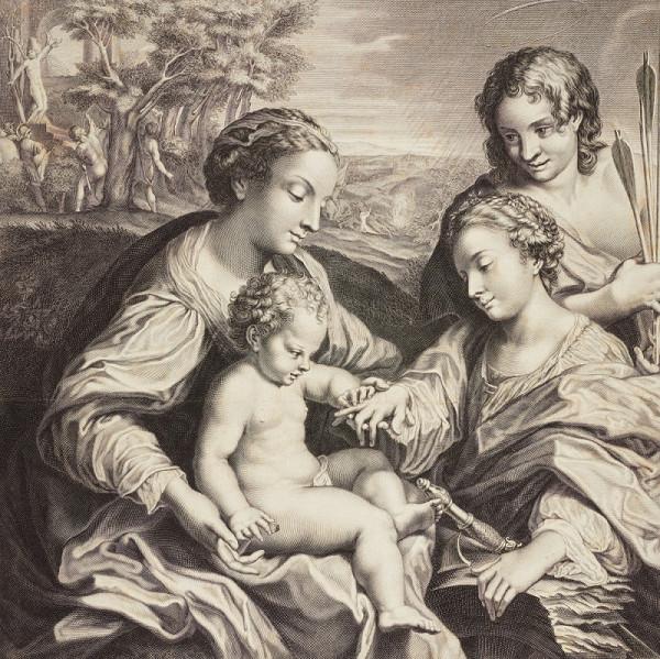Etienne Picart – Mystické zasnoubení svaté Kateřiny s Ježíškem (podle Correggia)
