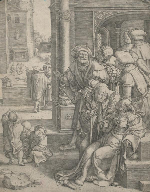 Lucas van Leyden – Římský lid se posmívá básníkovi Vergiliovi, pověšenému z okna v koši