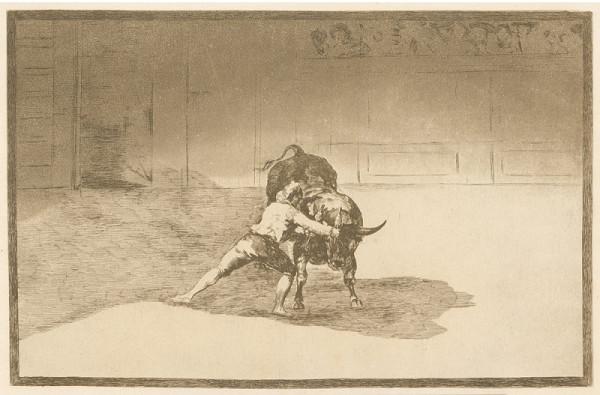 Francisco José de Goya y Lucientes – Slavný Martincho vráží banderilly do býka (z cyklu La Tauromaquia No. 15)