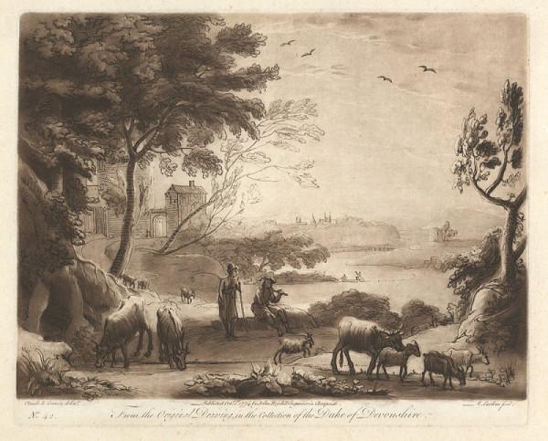 Richard Earlom – Krajina s řekou a stádem (podle Claude Lorraina)