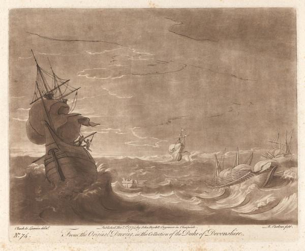 Richard Earlom – Plachetnice v bouři (podle Claude Lorraina)