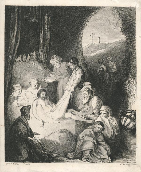Adam von Bartsch – Ukládání Krista do hrobu (podle C. W. E. Dietricha)