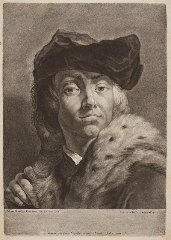Johann Gottfried Haid – Podobizna muže v baretu a kožešinovém límci (podle G. B. Piazzetty)