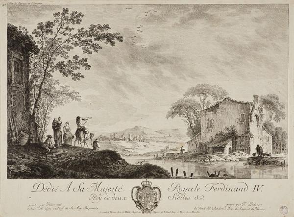 Ferdinand Landerer – Krajina s řekou a figurální stafáží (podle J. Pillementa)