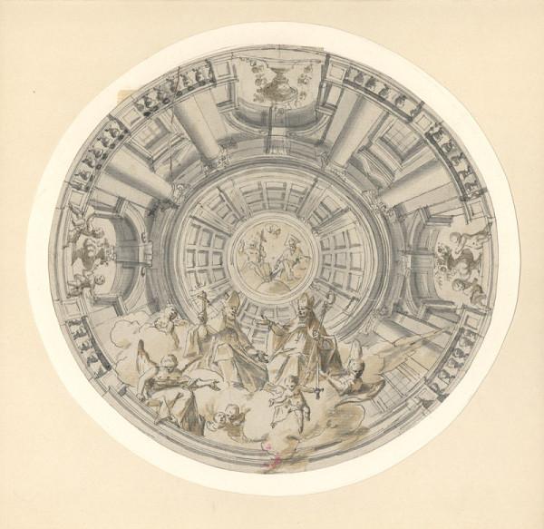 Josef Hager – Návrh iluzivní kupole s Nejsvětější Trojicí, sv. Vojtěchem, sv. Prokopem a anděly