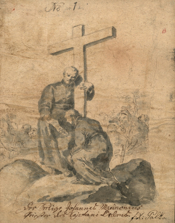 František Karel Palko – Blahoslavený Jan Marinonius s křížem a klečícím spolubratrem z řad theatinů