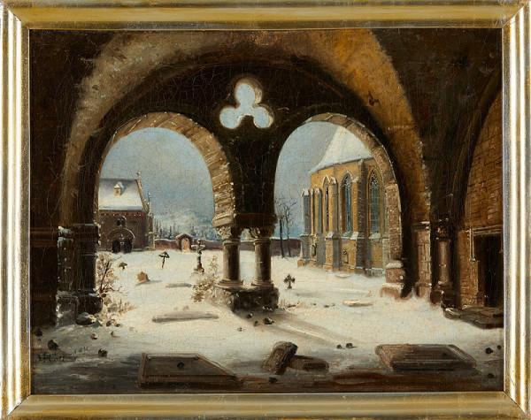 Ferdinand Lepié – Průhled na hřbitov, márnici a kostel