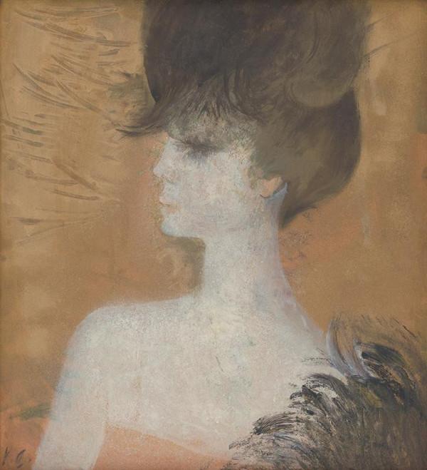 Kvetoslava Gandlová - Žena s perím na zlatom pozadí