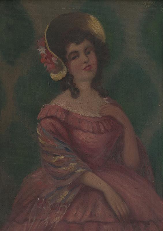 Stredoeurópsky maliar z 20. storočia – Portrét mladej dámy v žltom klobúku