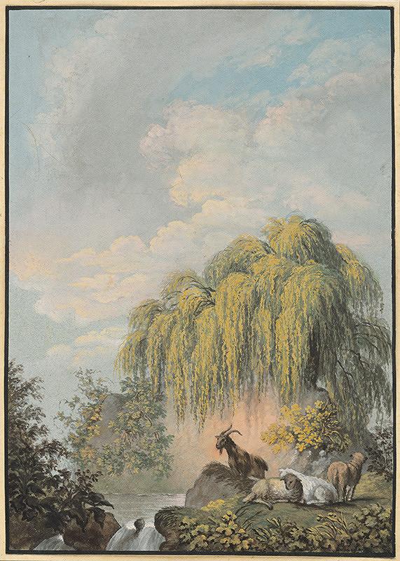 Stredoeurópsky maliar z 1. štvrtiny 19. storočia - Krajina s kozami