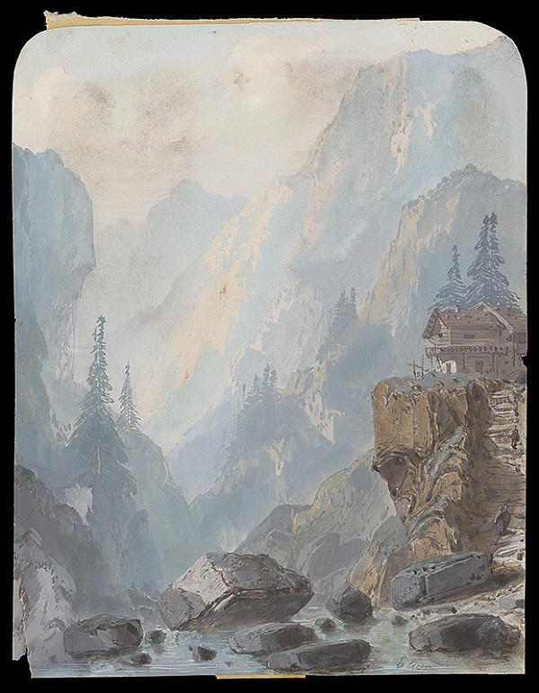 Rakúsky maliar po polovici 19. storočia – Horská krajina s dreveným domom