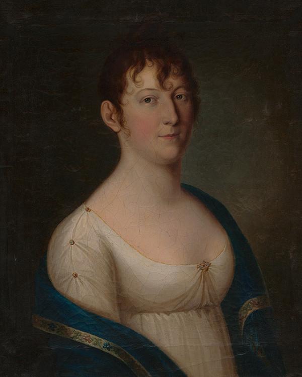 Stredoeurópsky maliar zo začiatku 19. storočia – Portrét ženy s modrou štólou