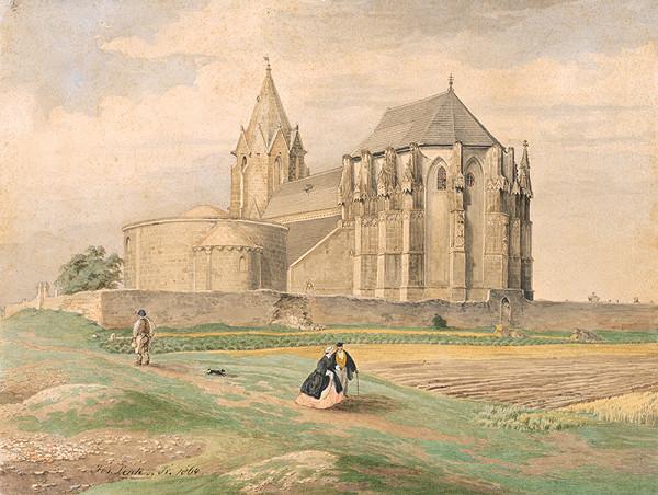 Jozef Lenk – Krajina s kostolom a karnerom v Deutsch - Altenburgu