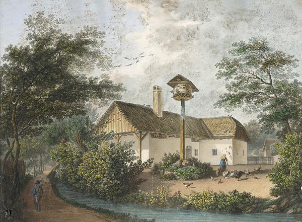 Stredoeurópsky maliar z 1. polovice 19. storočia – Krajina s domom a holubníkom