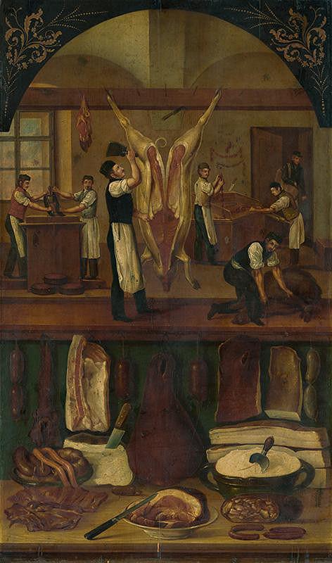 Stredoeurópsky maliar z 2. polovice 19. storočia - Mäsiarska dielňa a obchod