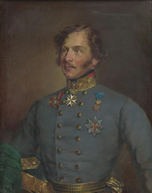 Maďarský maliar zo začiatku 20. storočia – Portrét muža v modrej uniforme