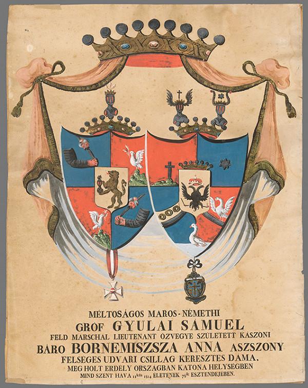 Maďarský maliar z konca 19. storočia - Aliančný erb grófa Samuela Gyulaiho a barónky Anny Bornemiszsza
