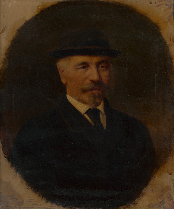 Stredoeurópsky maliar zo 4. štvrtiny 19. storočia - Portrét staršieho muža v čiernom klobúku