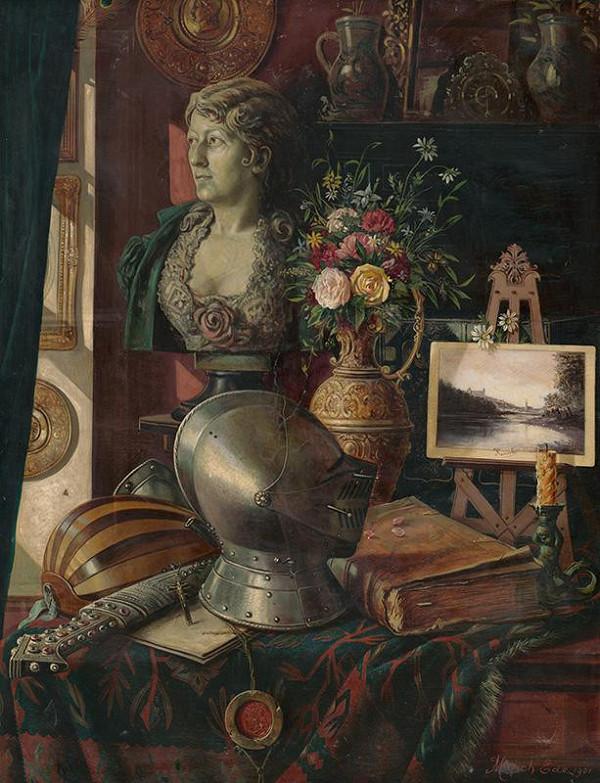 Eduard Majsch – Zátišie s Tilgnerovou sochou Charlotty Wolterovej