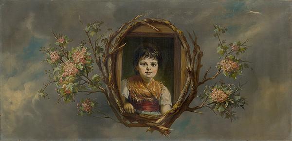 Monogramista G.St.G., Gabriela Eleonora Jozefa Saint-Genois - Portrét dievčatka v dekoratívnom orámovaní