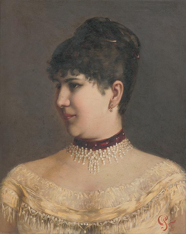 Ľudovít Pitthordt - Portrét dámy s perlovým náhrdelníkom