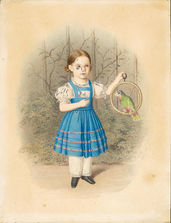 Stredoeurópsky maliar z 2. polovice 19. storočia - Dievčatko s papagájom