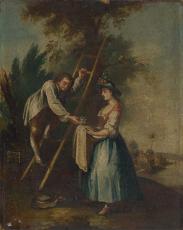 Stredoeurópsky maliar z konca 18. storočia - Rokokový žánrový výjav pod stromom