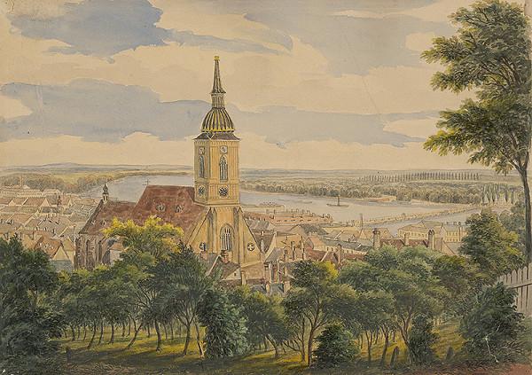 Carl von Klettenhoffen Klette, Stredoeurópsky maliar z 2. polovice 19. storočia - Pohľad na Bratislavu z hradného vrchu
