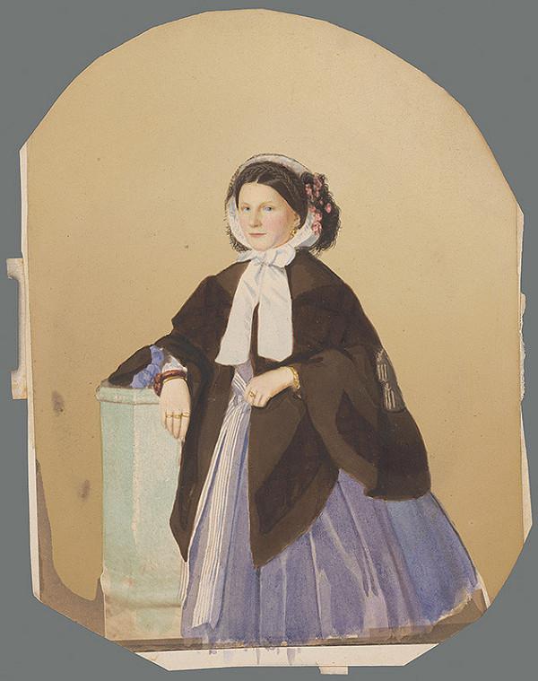 Stredoeurópsky autor z 19. storočia - Portrét ženy vo fialových šatách