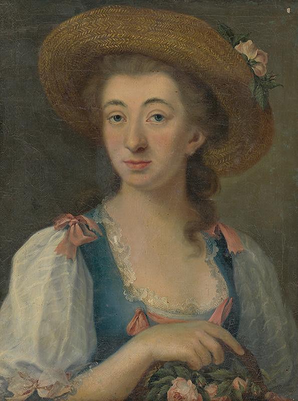 Stredoeurópsky maliar z konca 18. storočia - Portrét mladej ženy v klobúku
