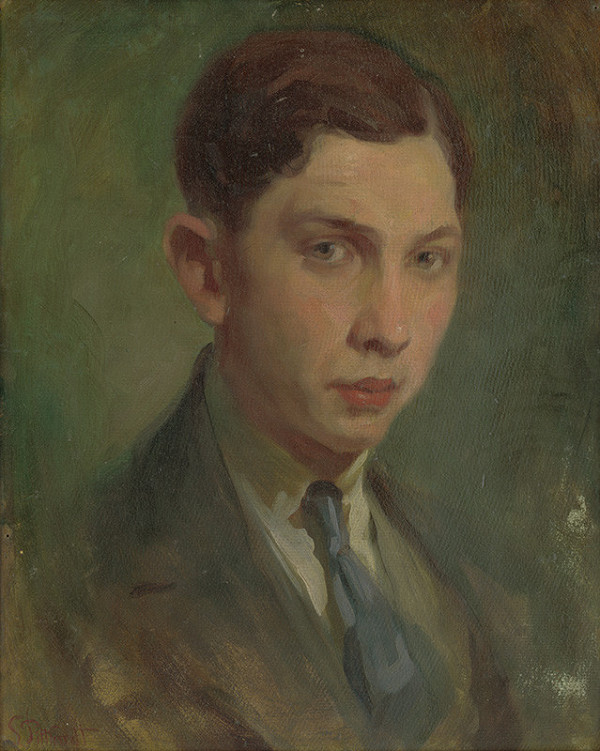 Ľudovít Pitthordt - Portrét mladého muža s modrou kravatou