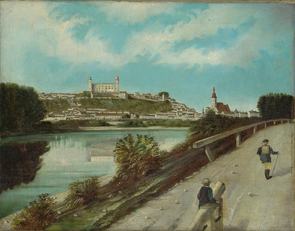 Bratislavský maliar z konca 19. storočia – Pohľad na Bratislavu od Pečenského ramena