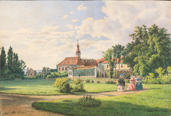 Jakob Alt – Krajina s kaštieľom, parkom a figurálnou štafážou
