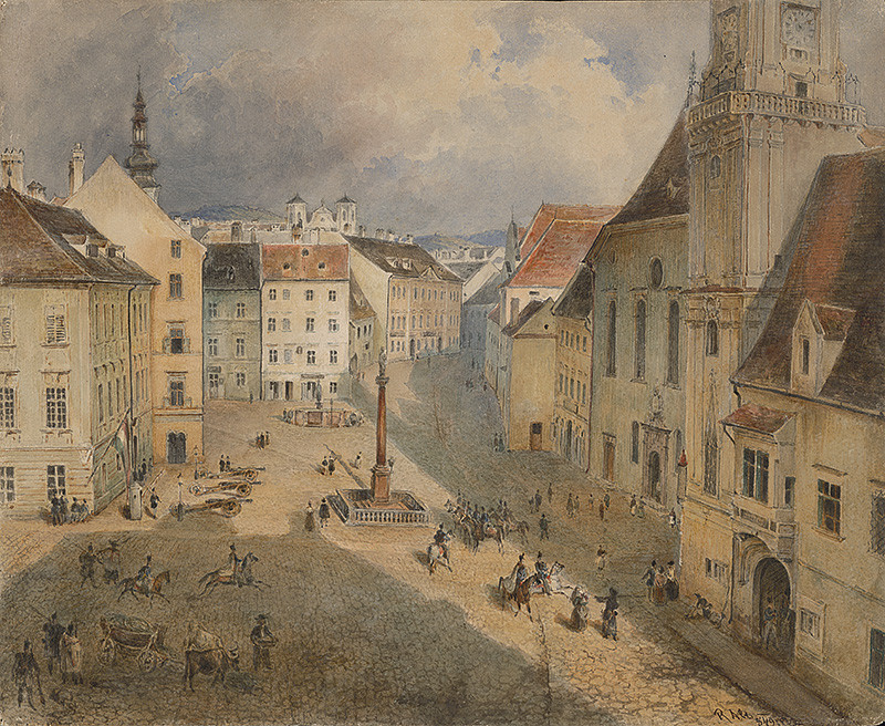 Stredoeurópsky maliar – Hlavné a Františkánske námestie v Bratislave, pred 1848, Galéria mesta Bratislavy