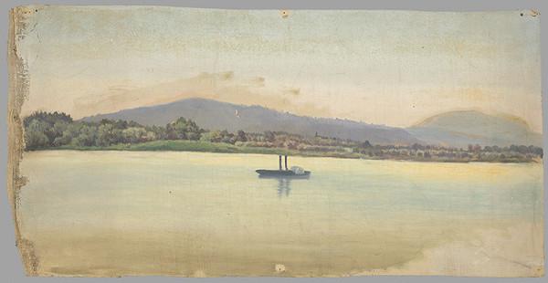 Stredoeurópsky maliar z 2. polovice 19. storočia - Krajina s riekou a parníkom