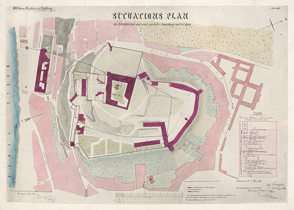 Stredoeurópsky autor z 19. storočia - Situačný plán bratislavského zámockého vrchu a okolia