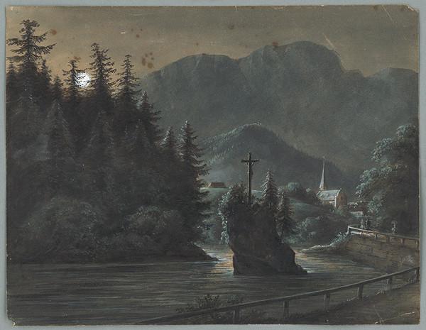 Stredoeurópsky maliar z 2. polovice 19. storočia - Krajina s krížom