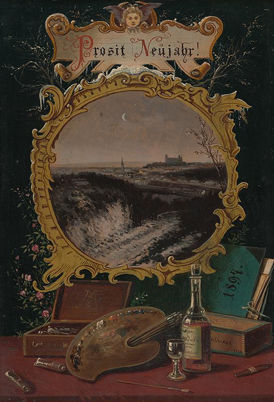 Eduard Majsch – Pohľad na Bratislavu - novoročenka 1897