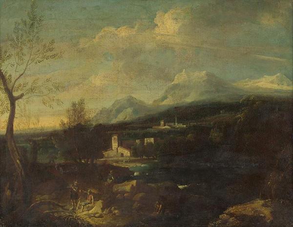 Severotaliansky maliar z 1. polovice 18.storčia - Krajina s figurálnou štafážou