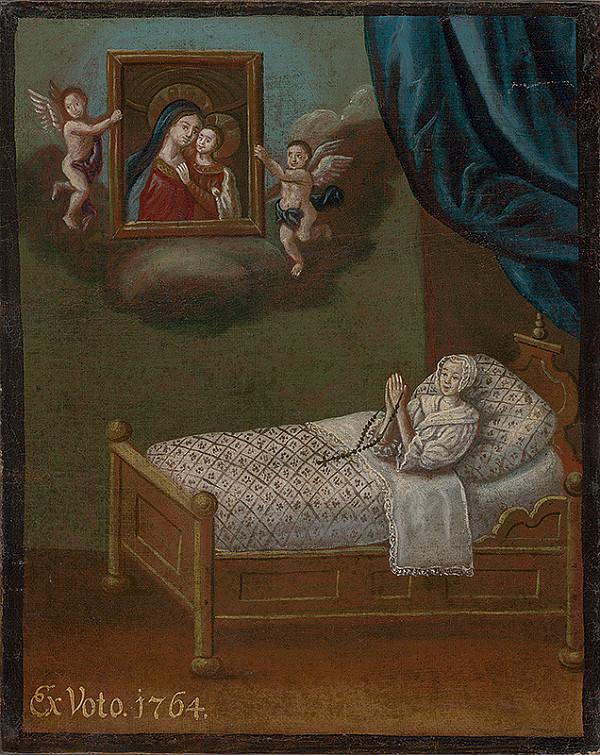 Slovenský maliar z 2. polovice 18. storočia - Votívny obraz s donátorkou a  obrazom Matky dobrej rady