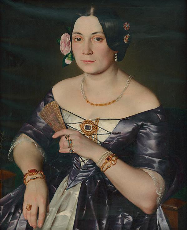Rakúsky maliar po polovici 19. storočia – Podobizeň ženy s ružou vo vlasoch