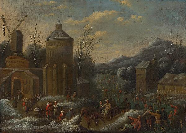 Nemecký maliar zo začiatku 18. storočia – Výjav v zimnej krajine