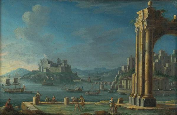 Stredoeurópsky maliar z 2. polovice 18. storočia - Prímorská krajina s hradom