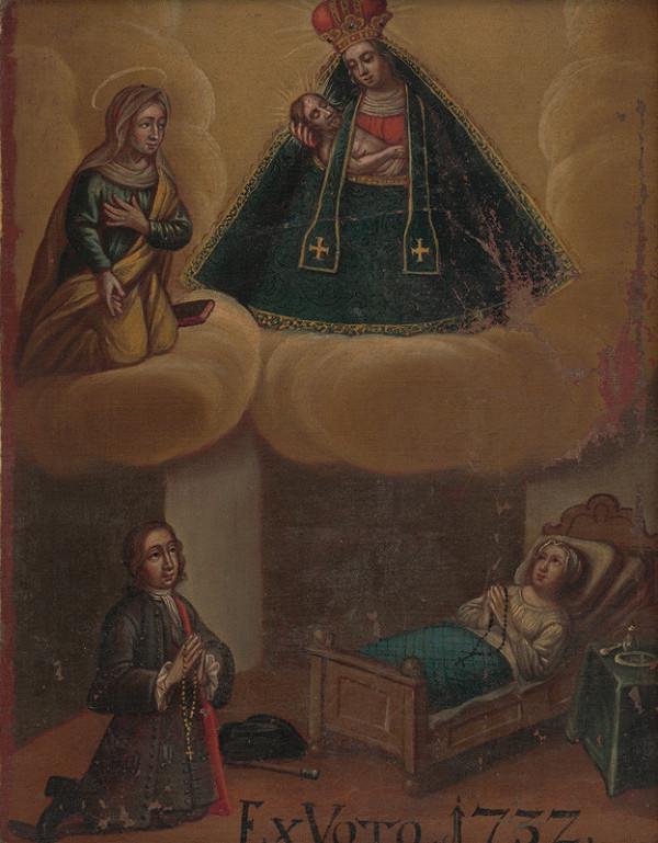 Slovenský maliar z 1. polovice 18. storočia - Votívny obraz s donátormi, neznámou sväticou a Sedembolestnou Pannou Máriou