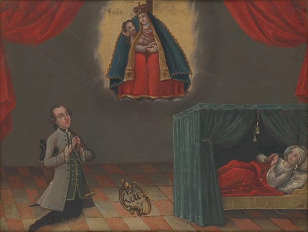 Slovenský maliar z 2. polovice 18. storočia - Votívny obraz s donátormi a sochou bratislavskej Piety
