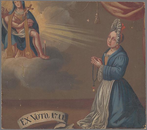 Slovenský maliar zo začiatku 18. storočia – Votívny obraz s donátorkou v čepci