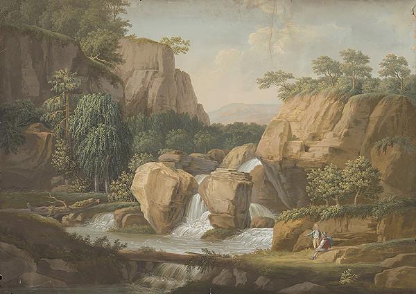 Stredoeurópsky maliar z 1. polovice 19. storočia - Romantická krajinka s vodopádom