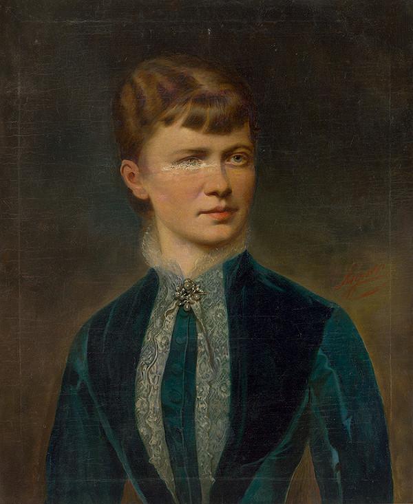 Josef Matthäus Aigner - Portrét mladej ženy v modrej blúzke
