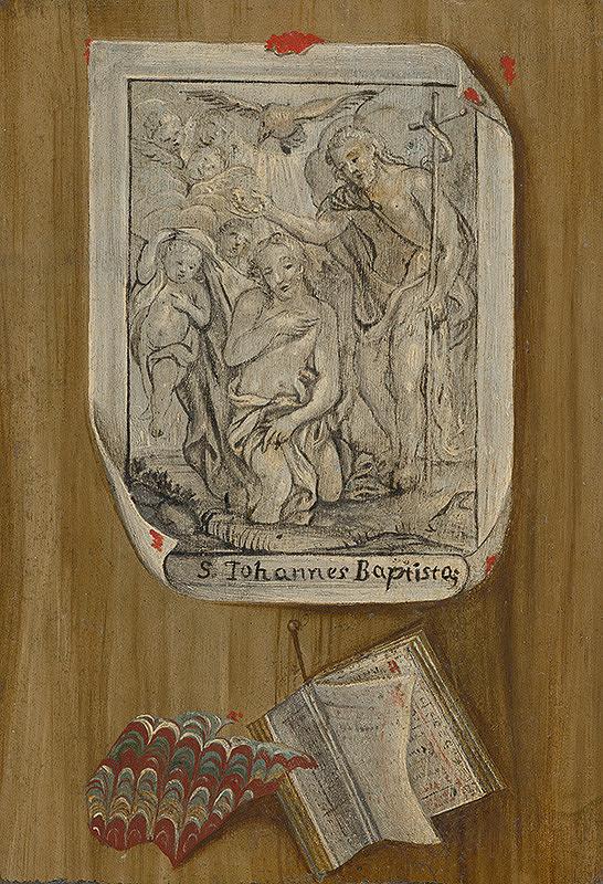 Stredoeurópsky maliar z 1. polovice 19. storočia - Zátišie s grafickým listom (kresbou) zobrazujúcim Krst Krista