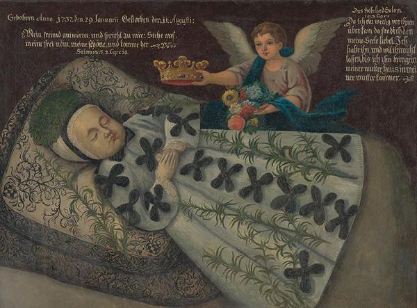 Stredoeurópsky maliar z 1. polovice 18. storočia – Posmrtný portrét dieťaťa rodiny Dobai